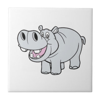 CartoonHippopotamus feliz Azulejo Cuadrado Pequeño