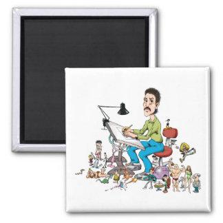 Cartoonist 2 Inch Square Magnet