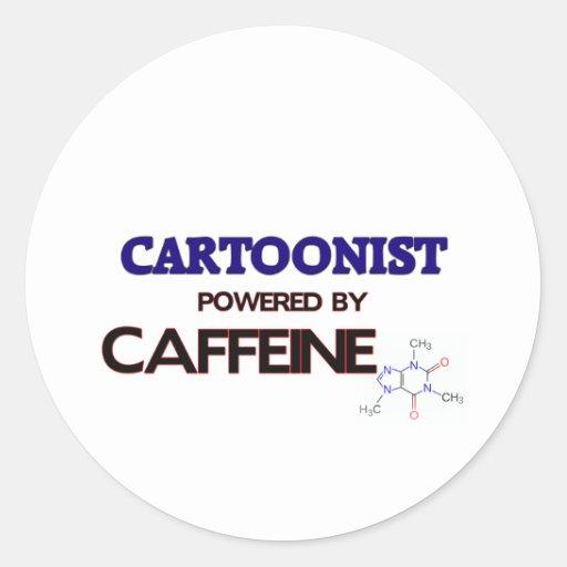 Cartoonist Powered by caffeine Round Stickers