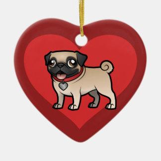Cartoonize mi mascota adorno navideño de cerámica en forma de corazón