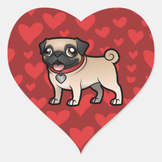 Cartoonize mi mascota pegatina en forma de corazón