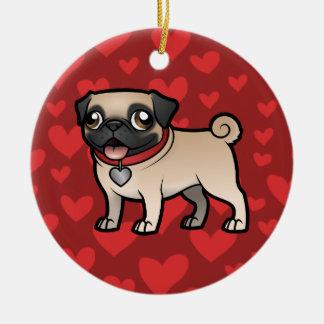 Cartoonize mi mascota y foto adorno navideño redondo de cerámica