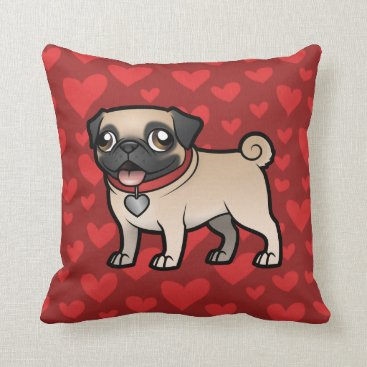 Valentines Themed Cartoonize My Pet Throw Pillow