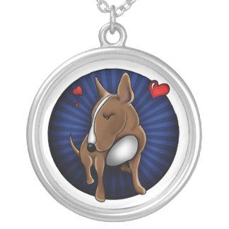 Cartoonized English Bull Terrier Round Pendant Necklace