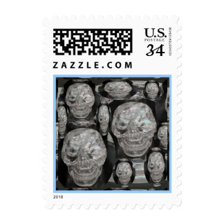 CARTOONS GHOST LAUGH:  BLACK SKULL SCULL POSTAGE STAMPS