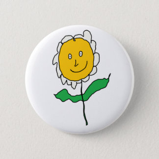 Cartoony Daisy Flower Button