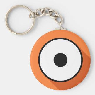 Cartoony Eye - Orange Basic Round Button Keychain