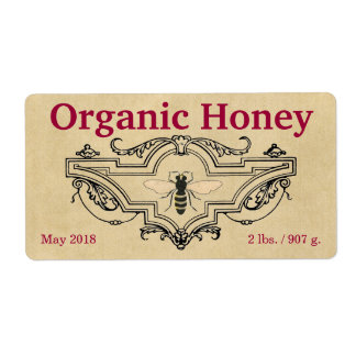 Cartouche orgánico de la abeja de la miel etiqueta de envío