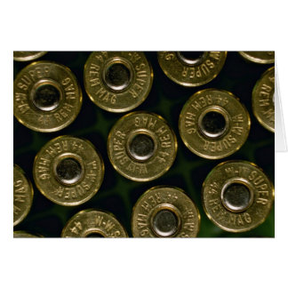 Cartridges, .44 magnums in carrier, detail of cap greeting card