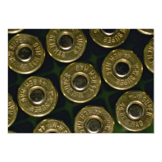 Cartridges, .44 magnums in carrier, detail of cap 5x7 paper invitation card