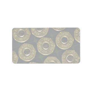 Cartridges, .44 magnums in carrier, detail of cap address label