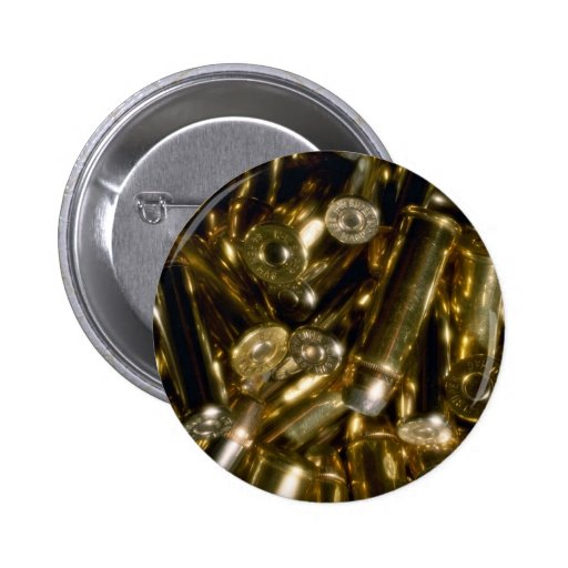 Cartridges, mixed .44 and .357 magnums in random p pinback buttons