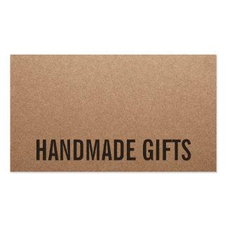 Cartulina hecha a mano marrón moderna rústica del tarjetas de visita