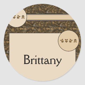 Cartwheel Bears Brown Fur Name Tag Classic Round Sticker