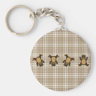 Cartwheel Bears Brown Plaid Keychain