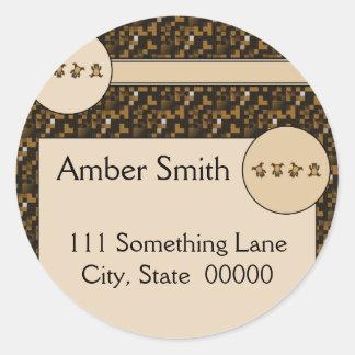 Cartwheel Bears Cross Stitch Address Label Classic Round Sticker