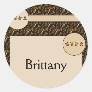 Cartwheel Bears Cross Stitch Name Tag Classic Round Sticker