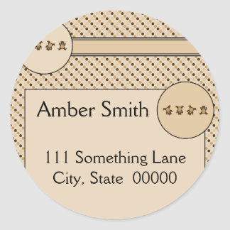 Cartwheel Bears Dots Address Label Classic Round Sticker