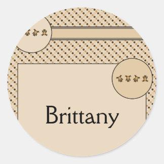 Cartwheel Bears Dots Name Tag Classic Round Sticker