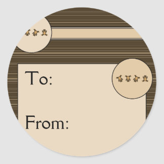 Cartwheel Bears Horizontal Stripes Gift Tag Classic Round Sticker