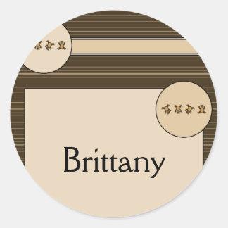 Cartwheel Bears Horizontal Stripes Name Tag Classic Round Sticker