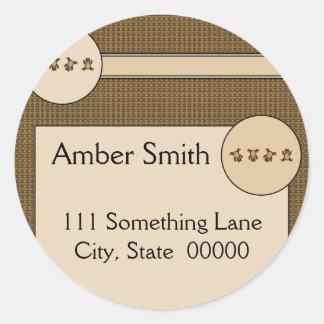 Cartwheel Bears Pattern Address Label Classic Round Sticker