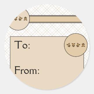 Cartwheel Bears Tan Plaid Gift Tag Sticker