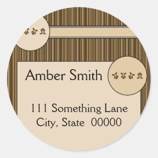 Cartwheel Bears Vertical Stripes Address Label Classic Round Sticker
