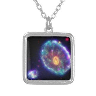 Cartwheel Galaxy Square Pendant Necklace