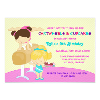 Cartwheels and Cupcakes Gymnastics Birthday Party 5x7 Paper Invitation Card