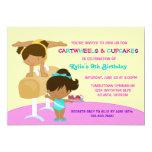 Cartwheels and Cupcakes Gymnastics Birthday Party Card