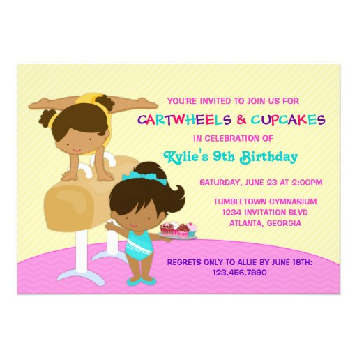 Cartwheels and Cupcakes Gymnastics Birthday Party Invites