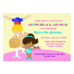 Cartwheels and Cupcakes Gymnastics Birthday Party Personalized Invitations