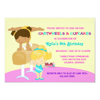 "Cartwheels and Cupcakes Gymnastics Birthday Party 5"" X 7"" Invitation Card"