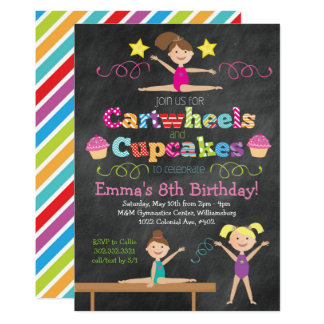 Cartwheels & Cupcakes Chalkboard Gymnastics Party Card