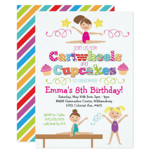 Cupcake birthday invitations announcements zazzle cartwheels cupcakes gymnastics birthday party card filmwisefo Gallery