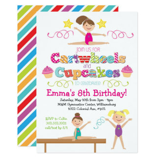 Cartwheels & Cupcakes Gymnastics Birthday Party Card