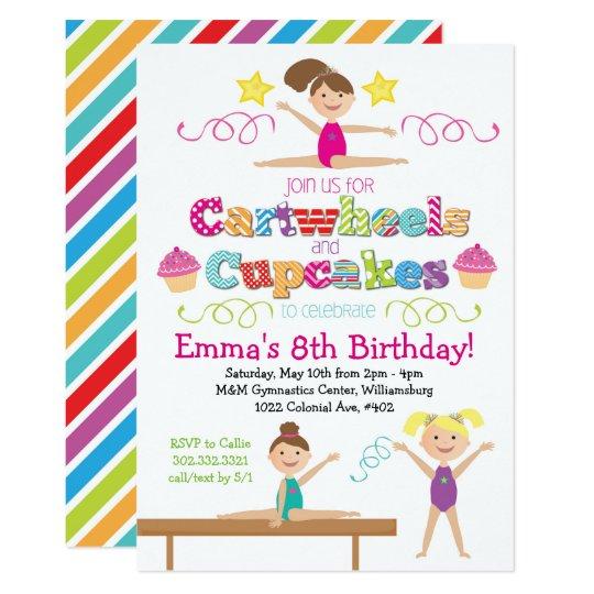 Cartwheels Cupcakes Gymnastics Birthday Party Invitation