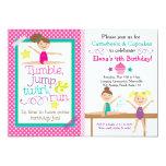 Cartwheels & Cupcakes Gymnastics Party Invitation