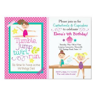 Cartwheels Cupcakes Gymnastics Party Invitation