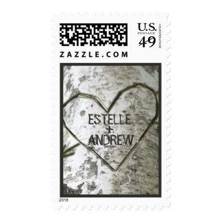 Carve Heart Birch Tree Postage Stamp