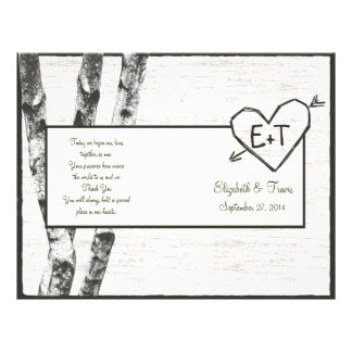 Carved Birch Tree Wedding Program