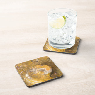 Carved Bowl Made of Fossils in Rock Drink Coasters