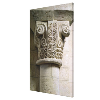 Carved column decorated with croziers and spirals stretched canvas prints