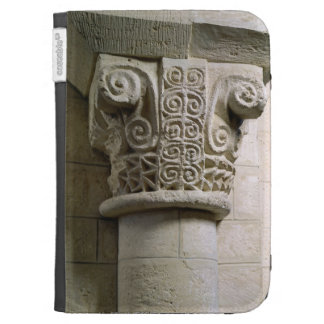 Carved column decorated with croziers and spirals kindle keyboard cases