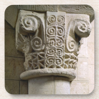 Carved column decorated with croziers and spirals beverage coaster