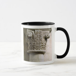Carved column decorated with croziers and spirals mug