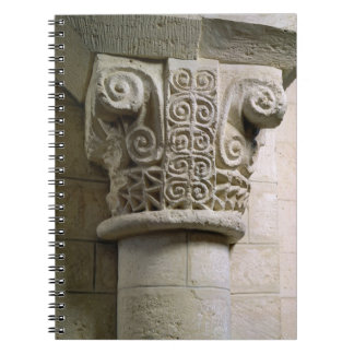 Carved column decorated with croziers and spirals spiral notebooks