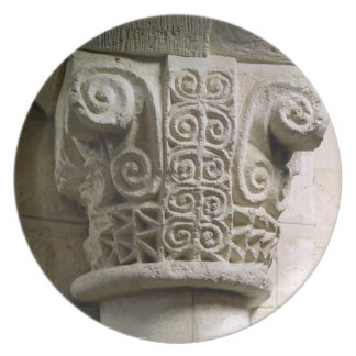 Carved column decorated with croziers and spirals plate