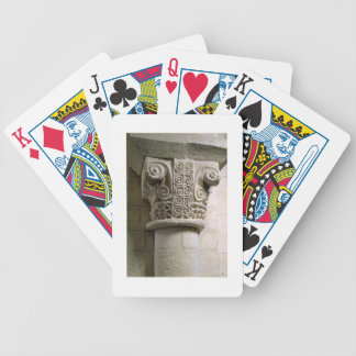 Carved column decorated with croziers and spirals bicycle card decks